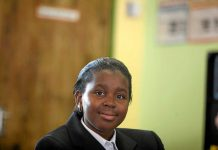 Gifted: Dembe Ndou keeps the pupils and teachers entertained with her beautiful voice and extraordinary skill on the keyboard.