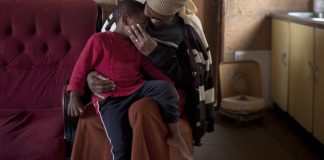 The mother of four-year-old Themba died weeks after his birth. He is being raised by his grandmother Sophie