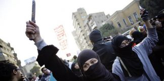 Women protest in Cairo in 2014. When activists have uteruses