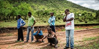 Young men from a rural area of KwaZulu-Natal wait to be picked up by health workers working with Doctors Without Borders to undergo medical circumcision.