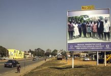 Loud and clear: A billboard in Lilongwe