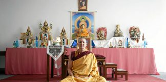 At peace: Buddhist nun Mila Kelsang says that even five minutes of meditation a day can reduce stress levels.