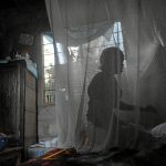 Shield: A Tanzanian woman and her child use a mosquito net as a preventative measure against malaria.