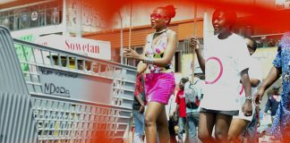 A march to defend women's right to wear miniskirts in Johannesburg on March 4 2008 after a woman was sexually molested by taxi drivers.