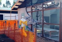 Damage to the Ebola treatment centre in Katwa in February