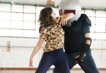 "In El HaLev's trauma-informed self-defense classes, women practice fighting against ""padded assailants."" The training is ""part of a comprehensive effort to prevent sexual assault and other acts of interpersonal violence and boundary violations,"" according to El HaLev's website. (Din Aharoni / El HaLev)"