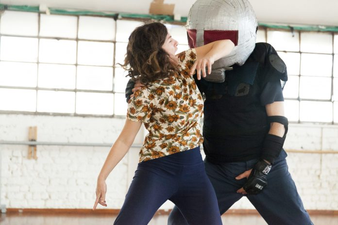 """In El HaLev's trauma-informed self-defense classes, women practice fighting against """"padded assailants."""" The training is """"part of a comprehensive effort to prevent sexual assault and other acts of interpersonal violence and boundary violations,"""" according to El HaLev's website. (Din Aharoni / El HaLev)"""