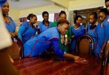 Domestic workers in training.